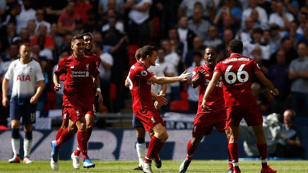 Georginio Wijnaldum of Liverpool celebrates scoring their first goal